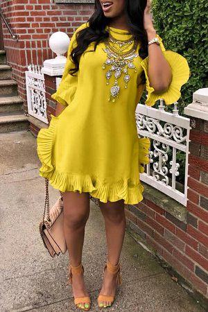 Ruffle Design Yellow Blending Mini Dress for Sale in College Park, GA