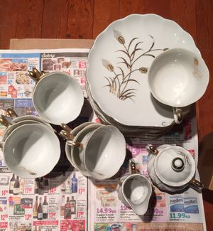 Antique Lefton China hand painted gold wheat pattern tea cups & snack plates for Sale in West Chicago, IL