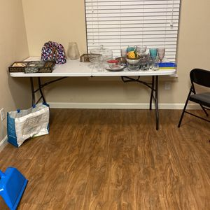 Table, Dishes, and 4 Chairs for Sale in Portland, OR