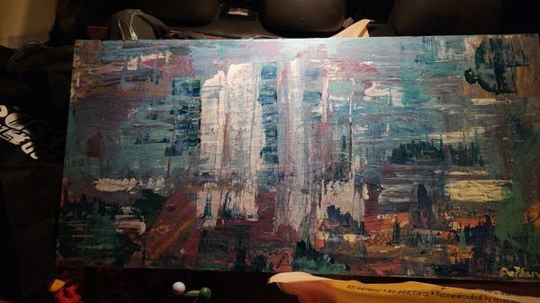 Canvas cityscape (it is interpretive I my wife thinks it looks like a mountain or State Park)