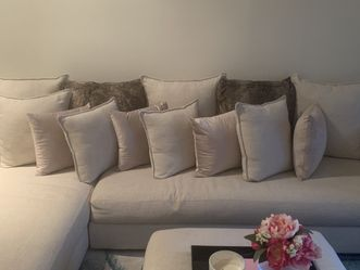 """MOVING - MUST SELL BY FEB 19! 3 PC Custom West Elm """"Serene"""" Sectional w/ Ottoman/Extended Section for Sale in Newburgh Heights,  OH"""
