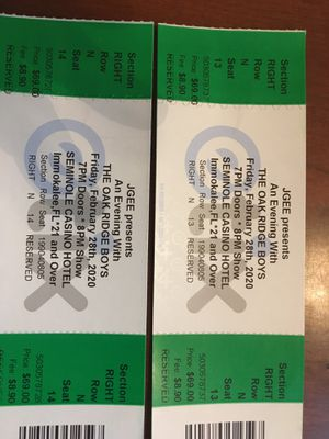 Concert tickets Oak Ridge Boy Feb 28 at Seminole Casino Immokalee Fl price $77 each reduced to $50 each. I have two reserved tickets call 940 781 10 for Sale in Cape Coral, FL