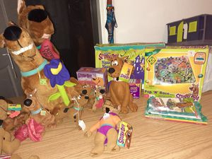 Scobie doo collectables. Stuffed animals. Games, waki talkies, games, puzzles, pillows, slippers, socks,sleeping bag.ect for Sale in LAKE CLARKE, FL