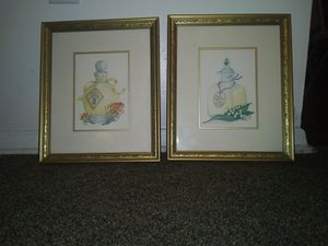 French fragrances watercolored framed prints (comes together as a pair) for Sale in New Port Richey, FL