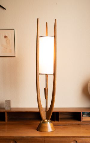 Mid Century Modern Modeline Sculptural Lamp Walnut and Brass Retro Table Lamp for Sale in Peoria, AZ