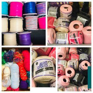 NEW-Arts Crafts Supplies STRETCH CORD LANYARD ROLLS $4 ea~~CROCHET THREAD SPOOLS $5 ea~~YARN $2 ea for Sale in Galt, CA