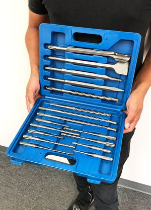 New $23 Tool Set 17pcs SDS Plus Rotary Hammer Drill Bits Chisel Concrete Masonry Hole for Sale in South El Monte, CA