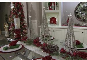 Set of 3 Graduated Glittered Jeweled Trees by Valerie. Silver for Sale in Green Bay, WI