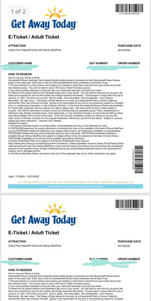 2 DAY DISNEY TICKETS for Sale in Daly City, CA