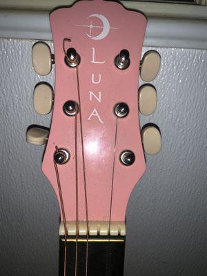 Luna Small Pink Acoustic Guitar W/ Case for Sale in Vero Beach, FL