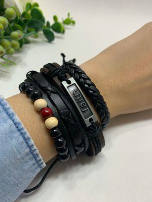 Braided Multi-layer Leather Bracelet (Set of 4), Faith for Sale in Tustin, CA