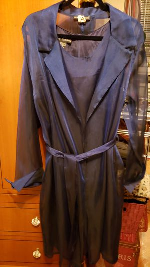 Mill Gabriella 2pc Satin Blue Shift dress & Matching Duster with belt for Sale in Chicago, IL