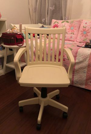 White rolling desk chair made of wood. for Sale in FL, US