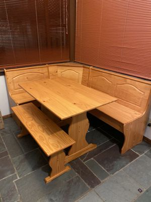 Wood dining table with bench seating and storage for Sale in Seattle, WA