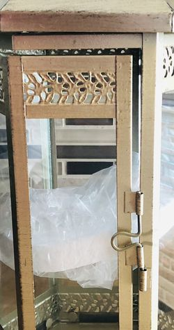"""New 8""""x15 """" WxH metal Decorative Lantern 3""""X4"""" tall pillar candle (pick up only) for Sale in Alexandria,  VA"""
