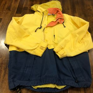 Awesome Bass Parka. nautical windbreaker! Sailing, seaside, beach pull over jacket. Yellow, Blue and Orange. Size L Men. for Sale in Battle Ground, WA