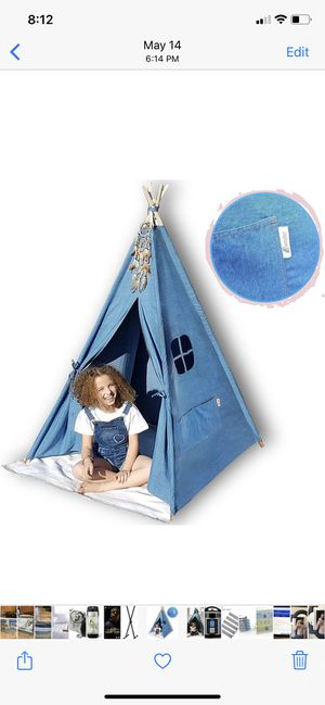 G-Eco Play Teepee Tent for Kids, Blue Denim, Children Toy Playhouse with Canvas Carry Bag, Gift for Girls and Boys Indoor and Outdoor, 4 Pole Foldabl for Sale in Covina, CA