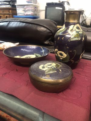 Vintage Indian Brass and Enamel Set for Sale in Los Angeles, CA