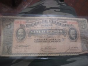 1914 billete 5 pesos Chihuahua for Sale in Melrose Park, IL