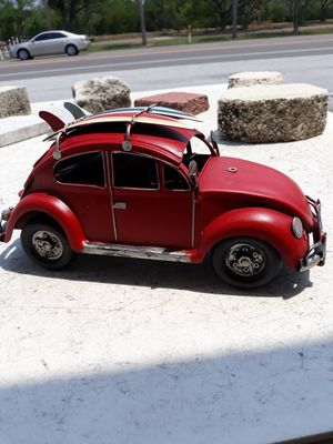 Cool metal tabletop VW bug with surfboards on top for Sale in Dunedin, FL