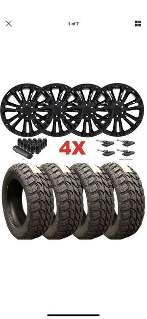 22 Black Wheels Rims Tires Package Set M/T Mud 33x12.50R22 Sierra Silverado Yukon Denali GMC Chevy for Sale in Long Beach, CA