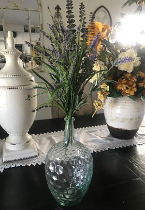 Farmhouse vase with the flowers for Sale in Montclair, CA