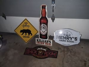 Tin bar signs (yellow one is sold ) for Sale in Oshkosh, WI