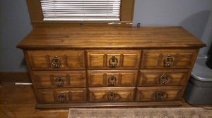 9 drawer dresser with vanity mirror. Mirror attaches to brackets on back for Sale in Greenville, SC