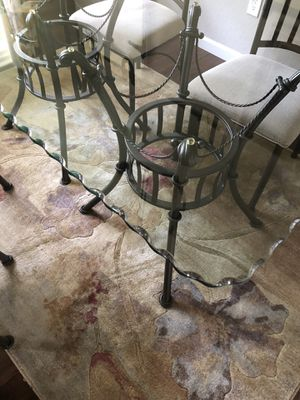Glass table by Ashley seats 6.Good shape glass good . Scalloped edges for Sale in Knoxville, TN
