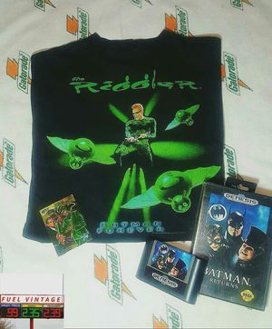 Very rare vintage Batman Forever and Batman Returns 90s Riddler and Sega Genesis with Collectible card gold edition bundle. for Sale in Phoenix, AZ