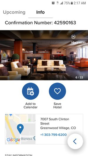 Sheraton DTC 8/31 - 9/2/18 Room Available for Sale in Denver, CO