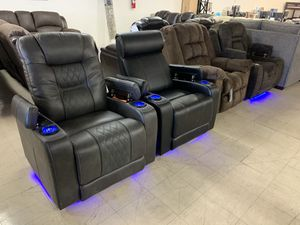Recliner Chair Power recliner Cupholder's Lights Massage chair Romeo's Furniture Recliner with Massage starting at $359 Sofa Love Sectional for Sale in Madera, CA