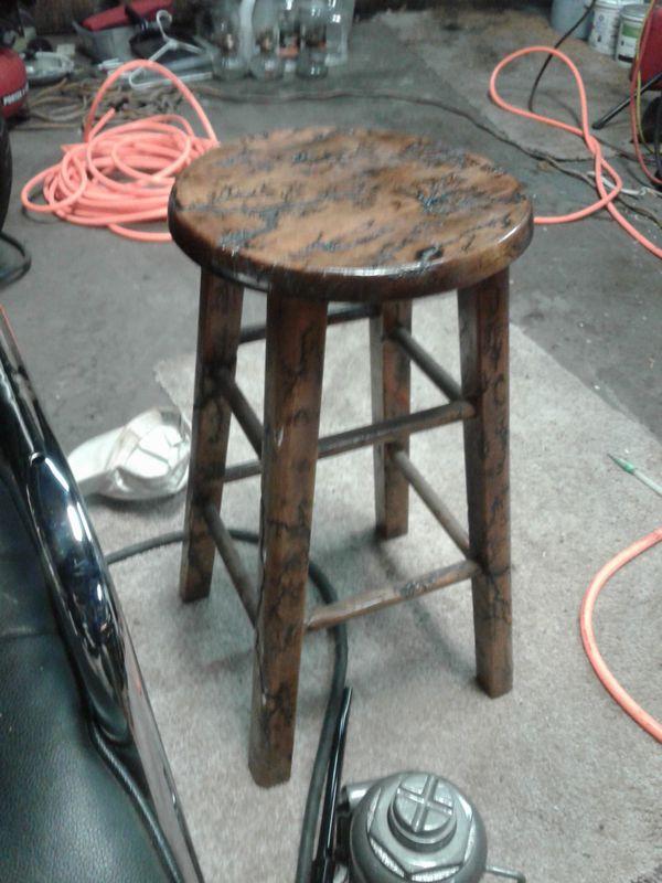 Small bar stool w/ fractal burn