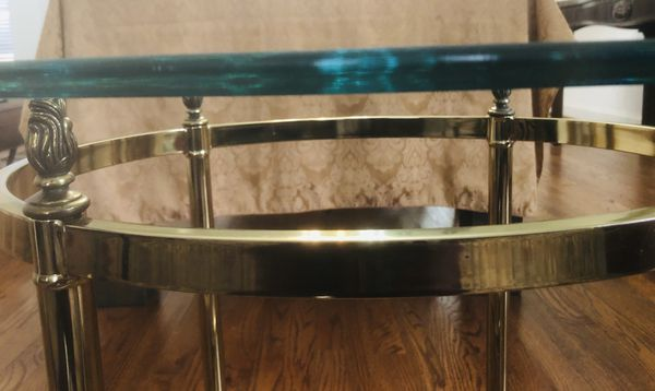 Vintage Brass Oval Glass Top Side tables