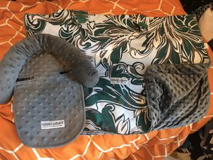 baby Car Seat Canopy / car seat cover (blanket) and matching head support for Sale in Little Rock, AR