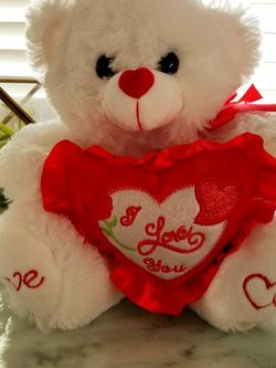 White And Red Plush Soft Cuddly Valentine's I LOVE YOU Teddy Bear for Sale in Milpitas,  CA