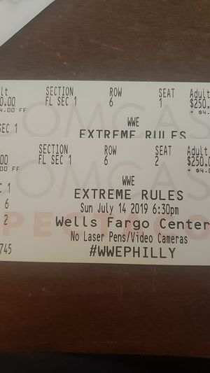 Wwe extreme rules. Floor tickets for Sale in Princeton, NJ