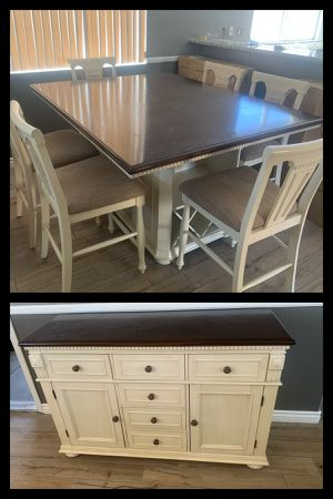 Dining table with six chairs and buffet server for Sale in Las Vegas, NV