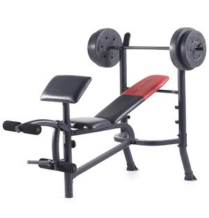 Weider weight bench, leg curl, and 80 lbs of weights BRAND NEW great for bench press, curls, leg day for Sale in Vista, CA