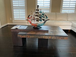Beautiful wooden and tile coffee table. 53x31 inches. Heavy and amazing condition! for Sale in Katy, TX
