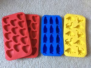 Silicon Heart Penguin Dino Shapes Ice Trays for Sale in Sammamish, WA