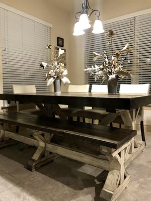 Custom Built FarmHouse Dining Table & Bench Breakfast. Comedor Mesa Modern Solid Wood Trestle Rustic Farm House *Not a furniture Store for Sale in Houston, TX