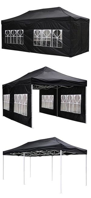 Brand New $200 Heavy-Duty 10x20 Ft Outdoor Ez Pop Up Party Tent Patio Canopy w/Bag & 6 Sidewalls, Black for Sale in Whittier, CA
