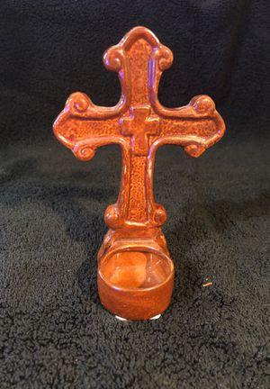 Glazed ceramic cross candle holder for Sale in Maricopa, AZ
