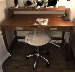 Crate & Barrel walnut desk with removable hutch shelf for Sale in Walnut Creek, CA
