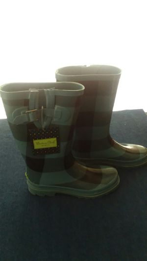 New Women's Western Chief Wide Calf Rain Boots Size 9 Black & Teal Plaid for Sale in Las Vegas, NV