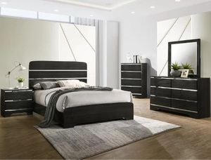🌲Crown Mark [SPECIAL] Chantal Black Panel Bedroom Set | [FREE CHEST] for Sale in Berwyn Heights, MD