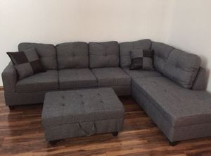 New gray denim sectional couch with storage ottoman for Sale in Kent, WA