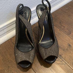 Jessica Simpson black/gold high heels for Sale in Laguna Beach, CA