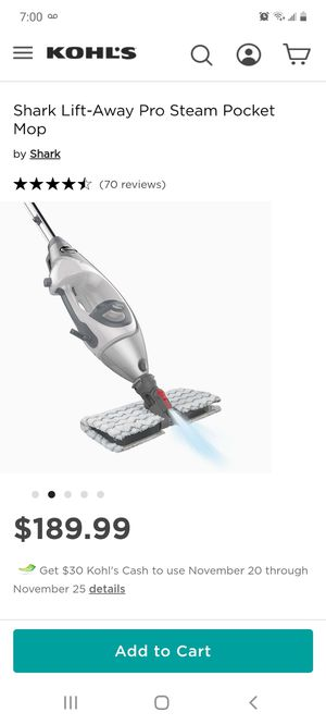 Shark lift away pro steam pocket mop for Sale in Moreno Valley, CA
